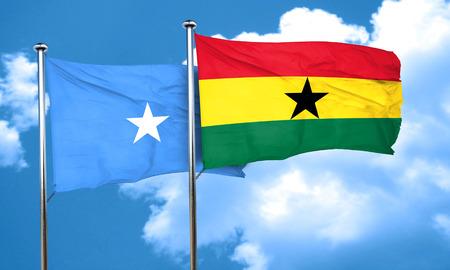 ghanese: Somalia flag with Ghana flag, 3D rendering Stock Photo