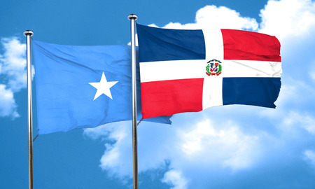 somalian flag: Somalia flag with Dominican Republic flag, 3D rendering