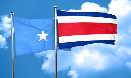 rican: Somalia flag with Costa Rica flag, 3D rendering Stock Photo