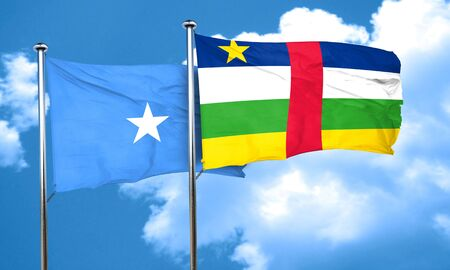 somalian culture: Somalia flag with Central African Republic flag, 3D rendering