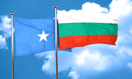 somalian culture: Somalia flag with Bulgaria flag, 3D rendering