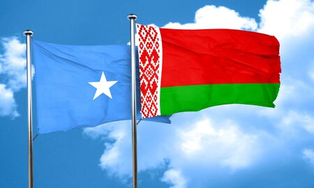 somalian culture: Somalia flag with Belarus flag, 3D rendering Stock Photo