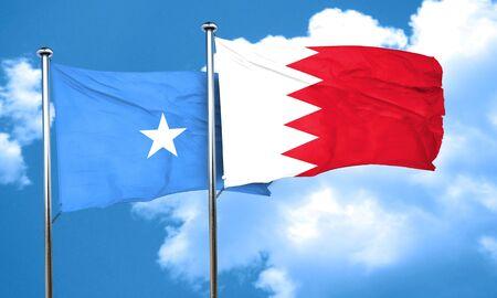 somalia: Somalia flag with Bahrain flag, 3D rendering Stock Photo
