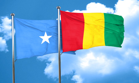 somalian culture: Somalia flag with Guinea flag, 3D rendering Stock Photo