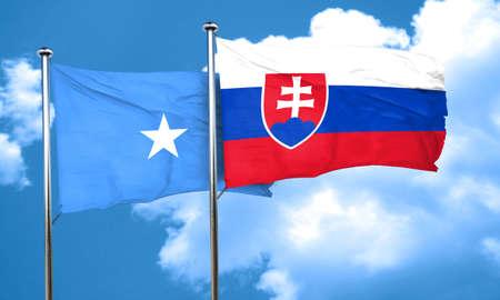 slovakia flag: Somalia flag with Slovakia flag, 3D rendering