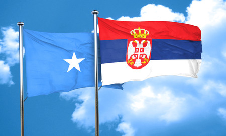 somalian culture: Somalia flag with Serbia flag, 3D rendering Stock Photo