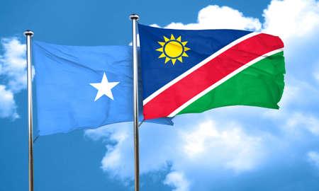 somalia: Somalia flag with Namibia flag, 3D rendering