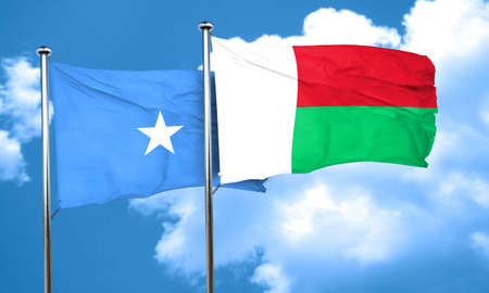 somalia: Somalia flag with Madagascar flag, 3D rendering Stock Photo