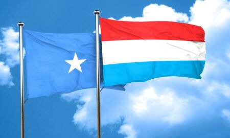 somalian culture: Somalia flag with Luxembourg flag, 3D rendering