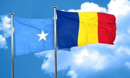 romania flag: Somalia flag with Romania flag, 3D rendering