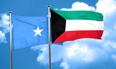 somalian culture: Somalia flag with Kuwait flag, 3D rendering