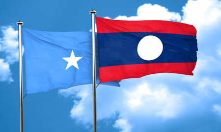 somalian culture: Somalia flag with Laos flag, 3D rendering