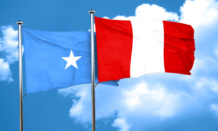 peru flag: Somalia flag with Peru flag, 3D rendering Foto de archivo