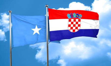 croatia flag: Somalia flag with Croatia flag, 3D rendering