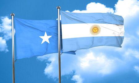 argentine: Somalia flag with Argentine flag, 3D rendering
