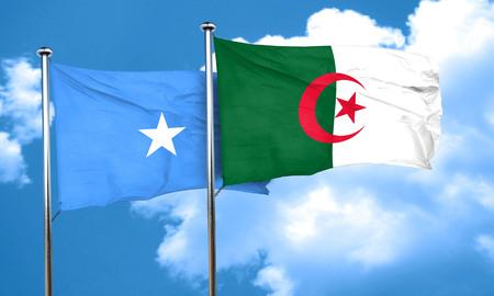 algeria: Somalia flag with Algeria flag, 3D rendering Stock Photo