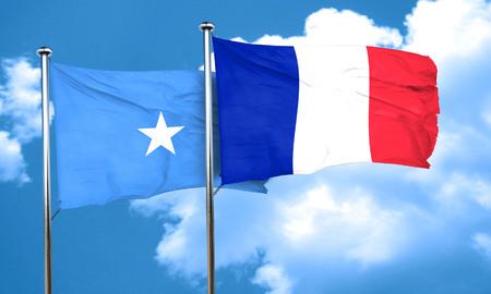 somalia: Somalia flag with France flag, 3D rendering Stock Photo