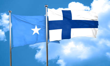 somalian culture: Somalia flag with Finland flag, 3D rendering