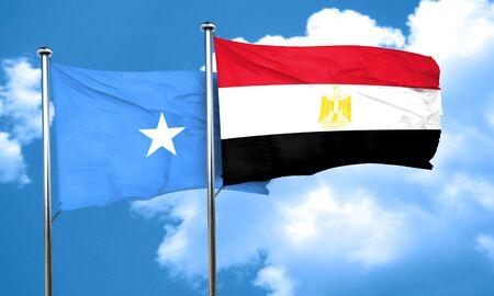 somalia: Somalia flag with egypt flag, 3D rendering