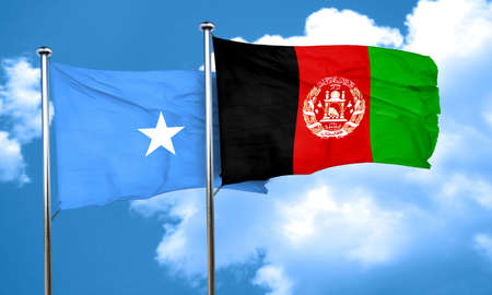 Somalia flag with afghanistan flag, 3D rendering Stock Photo
