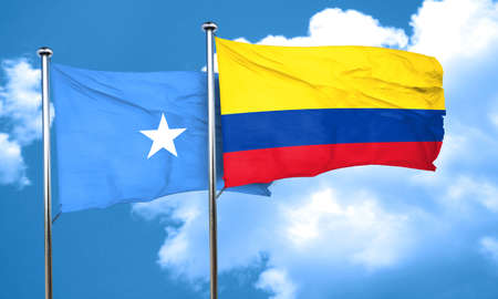 somalian flag: Somalia flag with Colombia flag, 3D rendering