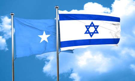 israel flag: Somalia flag with Israel flag, 3D rendering