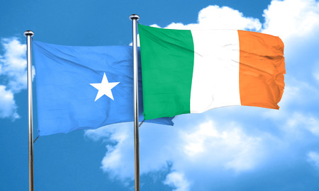 somalia: Somalia flag with Ireland flag, 3D rendering