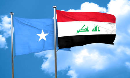somalian culture: Somalia flag with Iraq flag, 3D rendering Stock Photo