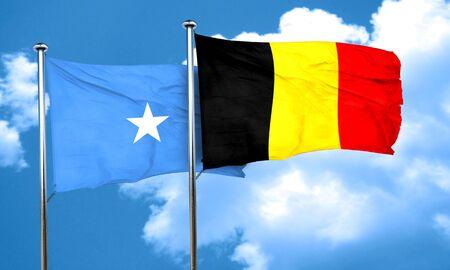 belgium flag: Somalia flag with Belgium flag, 3D rendering