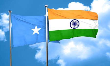 somalia: Somalia flag with India flag, 3D rendering