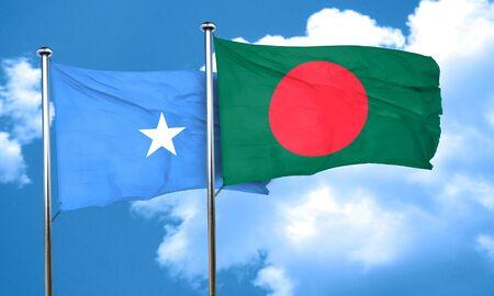 bangladesh: Somalia flag with Bangladesh flag, 3D rendering