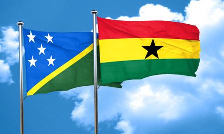 ghanese: Solomon islands flag with Ghana flag, 3D rendering Stock Photo