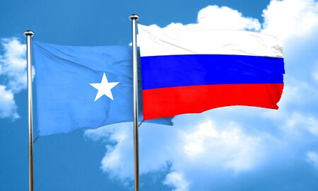 russia flag: Somalia flag with Russia flag, 3D rendering