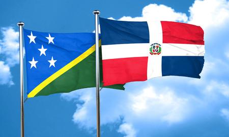 solomon: Solomon islands flag with Dominican Republic flag, 3D rendering