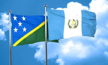 guatemala flag: bandera de las islas Salomón con la bandera de Guatemala, 3D