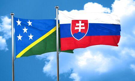 solomon: Solomon islands flag with Slovakia flag, 3D rendering