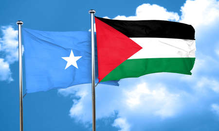 somalian culture: Somalia flag with Palestine flag, 3D rendering