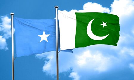 somalian culture: Somalia flag with Pakistan flag, 3D rendering