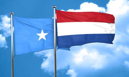 netherlands flag: Somalia flag with Netherlands flag, 3D rendering