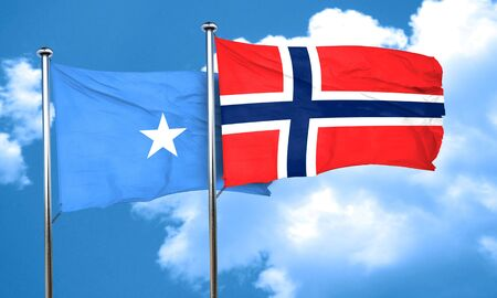 somalian culture: Somalia flag with Norway flag, 3D rendering Stock Photo