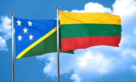 solomon: Solomon islands flag with Lithuania flag, 3D rendering