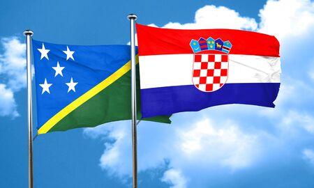 bandera croacia: bandera de las islas Salom�n con la bandera de Croacia, 3D Foto de archivo