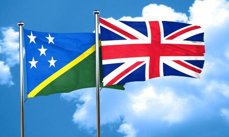 england politics: Solomon islands flag with Great Britain flag, 3D rendering
