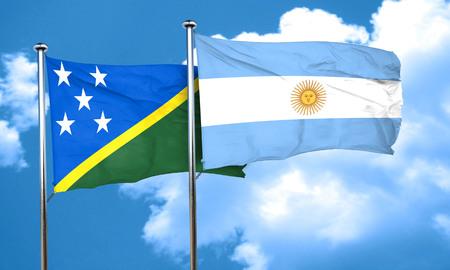 argentine: Solomon islands flag with Argentine flag, 3D rendering