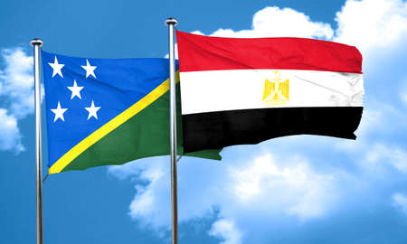 egypt flag: Solomon islands flag with egypt flag, 3D rendering