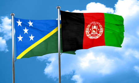 afghan: Solomon islands flag with afghanistan flag, 3D rendering Stock Photo