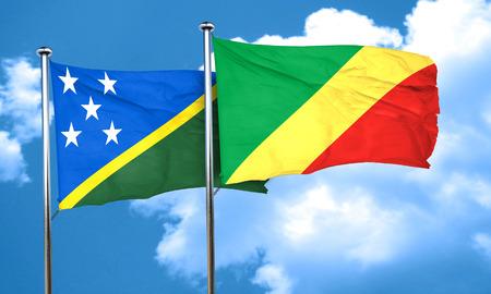 solomon: Solomon islands flag with congo flag, 3D rendering