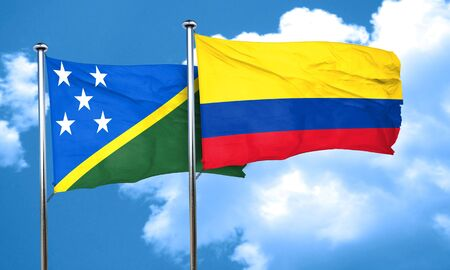 solomon: Solomon islands flag with Colombia flag, 3D rendering Stock Photo