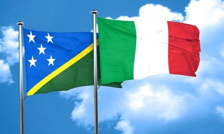 solomon: Solomon islands flag with Italy flag, 3D rendering