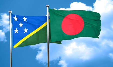 bangladesh: Solomon islands flag with Bangladesh flag, 3D rendering